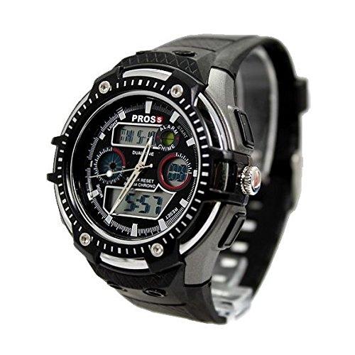 Dark Gray Uhrgehaeuse Chronograph Datum Alarm Luenette schwarz Maenner Anadigit Uhr
