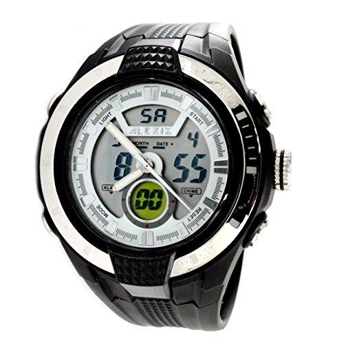 ukaw363g Chronograph PNP glaenzend Silber Luenette Wasser widerstehen Herren Analog Digital Armbanduhr