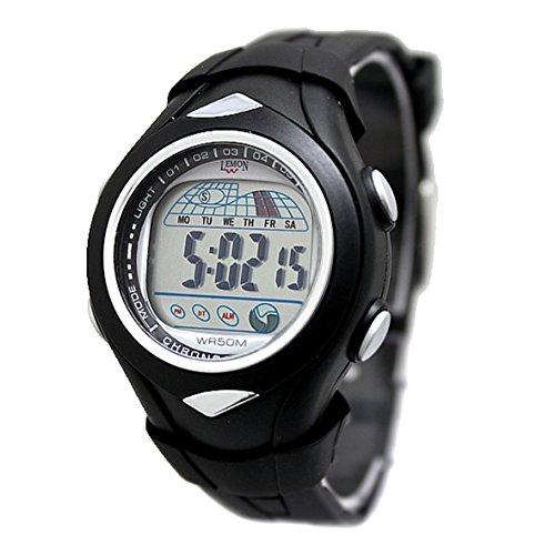 ukdw045 a PNP glaenzend Silber Watchcase Chronograph Herren wasserabweisend Digitale Armbanduhr