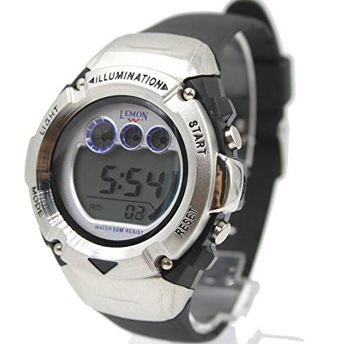 ukdw213mg PNP matt silber Watchcase Alarm Hintergrundbeleuchtung Wasser widerstehen Herren Digitale Armbanduhr