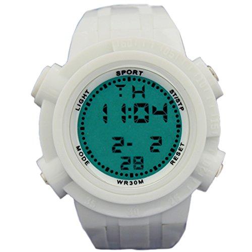 ukdw357b weiss Watchcase Chronograph Hintergrundbeleuchtung weiss Luenette Herren Frauen Digitale Armbanduhr