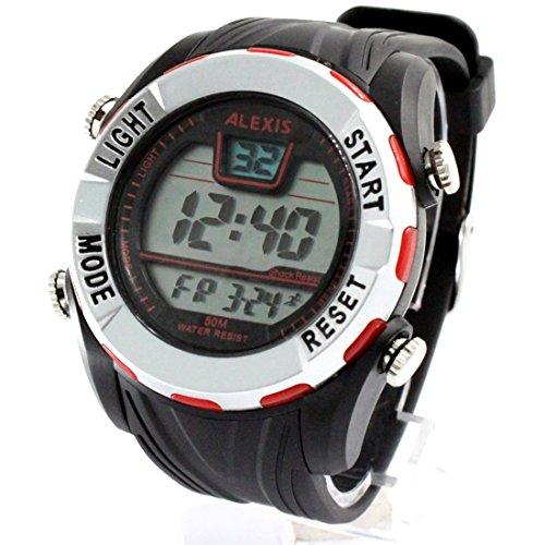 ukdw449b Datum Alarm Hintergrundbeleuchtung PNP matt silber Luenette Wasser widerstehen Herren Digitale Armbanduhr
