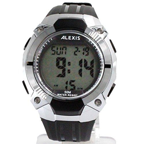 ukdw452b Datum Hintergrundbeleuchtung PNP glaenzend Silber Luenette Wasser widerstehen Junge Maedchen Digital Armbanduhr