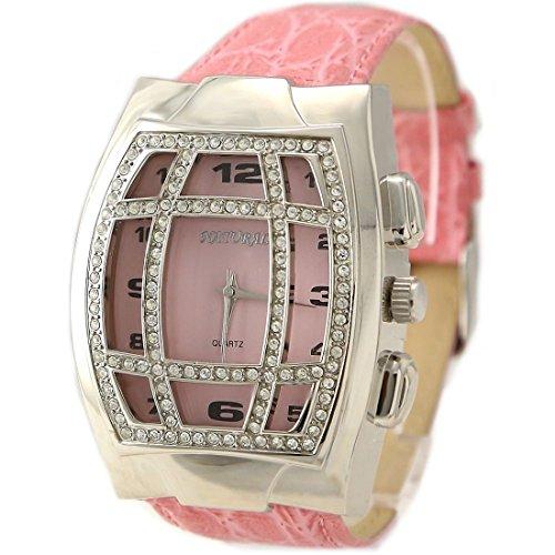 ukfw102b Pink Zifferblatt Band Rosa PNP glaenzend Silber Watchcase Damen Frauen Fashion Armbanduhr