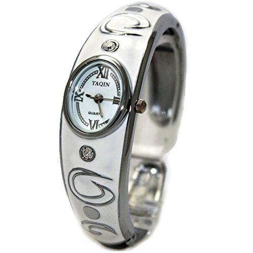 ukfw643 a glaenzend Silber Band Elliptische PNP glaenzend Silber Watchcase Damen Armreif Armbanduhr