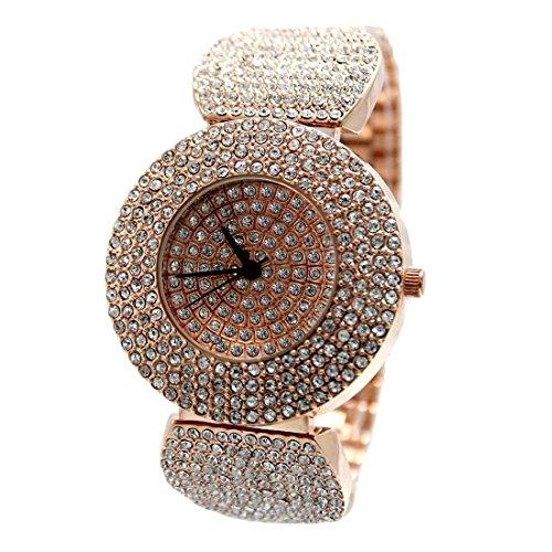 ukfw868 a Rose Gold Ton Band Rose Gold Ton Watchcase Damen Kristall Fashion Armbanduhr