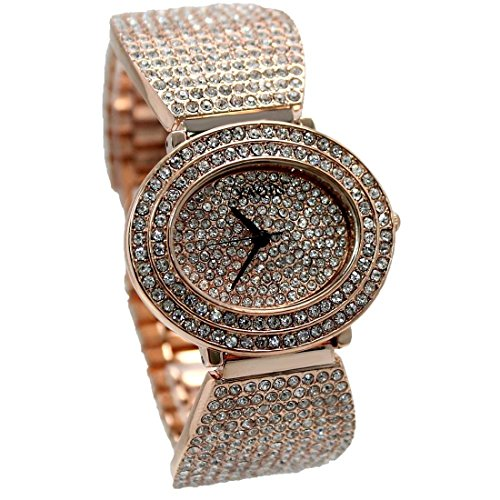 ukfw869 a New Rose Gold Ton Band Elliptische Rose Gold Ton Zifferblatt Frauen Armband Armbanduhr