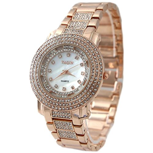 ukfw907 a New Weiss Zifferblatt Rose Gold Tone Band Rose Gold Ton Watchcase Fashion Armbanduhr