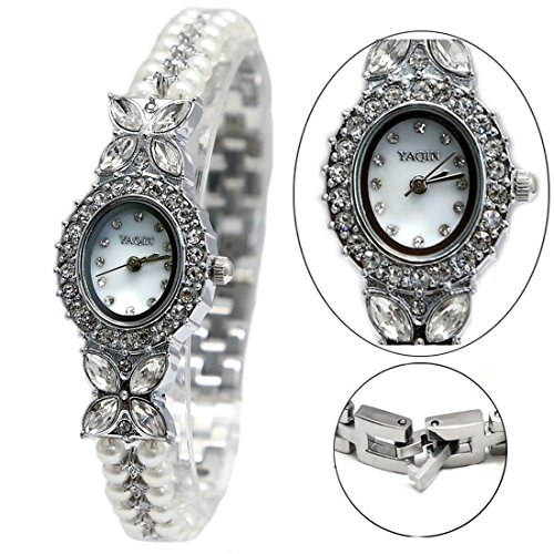 ukfw913b glaenzend Silber Band weiss Zifferblatt Damen Frauen nachgeahmt Pearl Armband Armbanduhr
