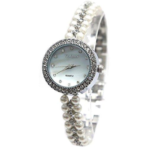 ukfw914b PNP glaenzend Silber Watchcase weiss Zifferblatt Damen immited Pearl Armband Armbanduhr