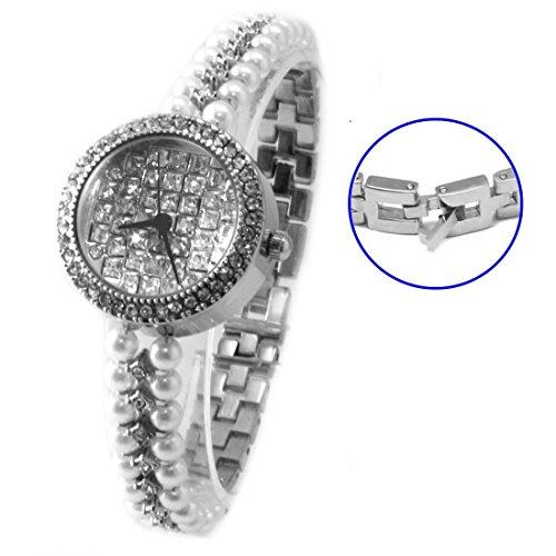 ukfw924 a glaenzend Silber Band Silber Zifferblatt Damen Frauen immited Pearl Armband Armbanduhr