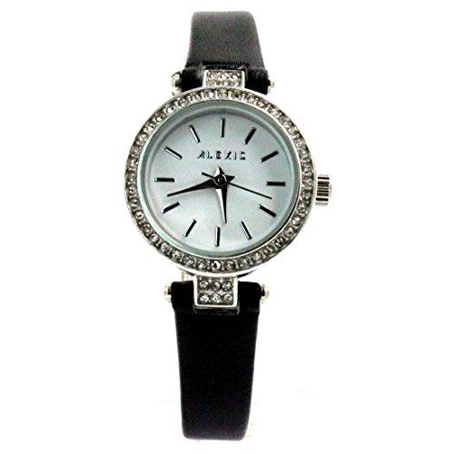 ukfw965b New Weiss Zifferblatt schwarz Band PNP glaenzend Silber Watchcase Damen Fashion Armbanduhr