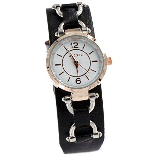 ukfw968b New Weiss Zifferblatt schwarz Band PNP glaenzend Silber Watchcase Damen Fashion Armbanduhr