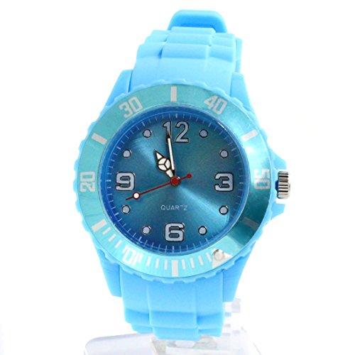 ukfw969 a neuen Licht Blau Watchcase Silikon Hellblau Band Herren Frauen Fashion Armbanduhr