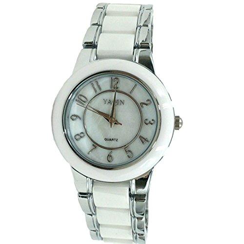 ukfw973 a Neue Runde PNP glaenzend Silber Watchcase Boy Girl Keramik Watch Fashion Watch