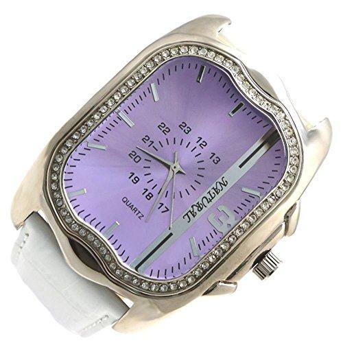 Dial New Violet White Band PNP glaenzende silberne Uhrgehaeuse Frauen Mode Uhr