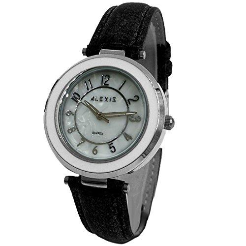 Neue weisse Vorwahlknopf schwarze Band PNP glaenzende silberne Uhrengehaeuse Dame Art und Weiseuhr