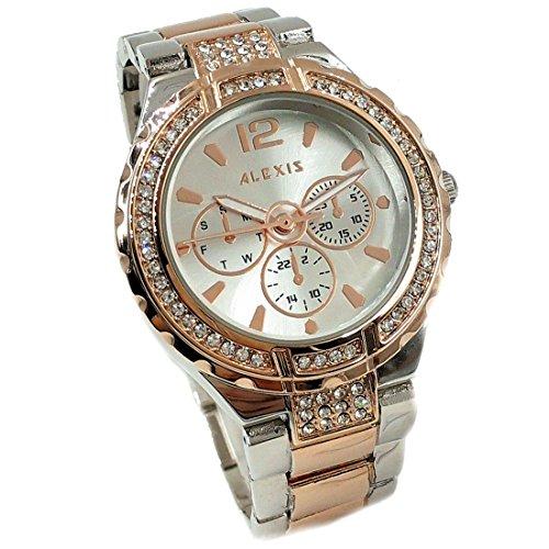 Rose Gold PNP Band Wasser Resist Silber Zifferblatt Damen Damen Armbanduhr