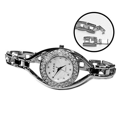 Rund Wasser wider weissen Zifferblatt Damen ALEXIS Marke Kristall Armband Uhr