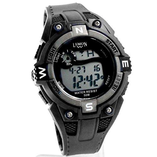 ukdw454b schwarz Watchcase Chronograph Alarm dunkelgrau Luenette Wasser widerstehen