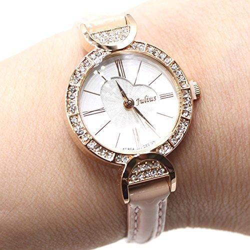 Weisses Zifferblatt Rosa Band Rose Gold Ton Uhrgehaeuse Dame Frauen Mode Uhr