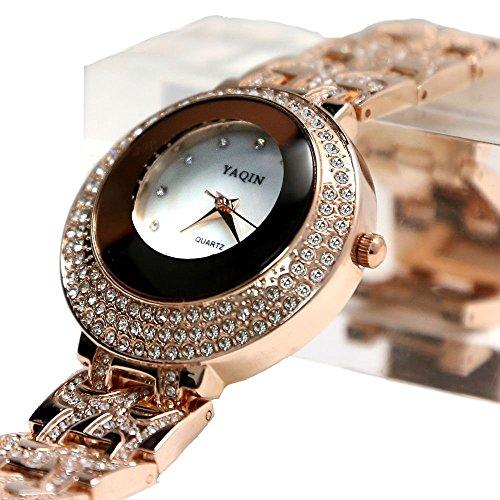 Weisses Zifferblatt Rose Gold Ton Band Dame Kristallspiegelglas Mode Uhr