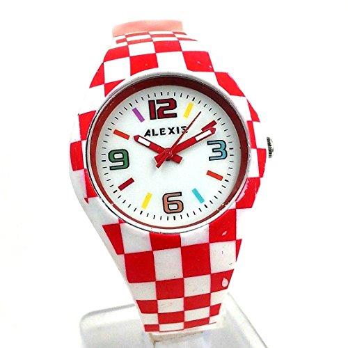 Neue weisse Vorwahlknopf rote Uhrengehaeuse Silikon rote Band Dame Frauen Art und Weiseuhr
