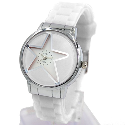 New White White Band PNP glaenzende silberne Uhrgehaeuse Frauen Mode Uhr Dial
