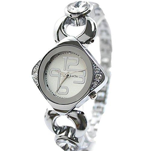 New White Dial Dame Frauen elegante stilvolle Kristall