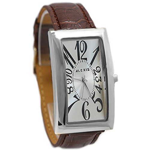 Dial New White Brown Band PNP glaenzende silberne Uhrgehaeuse ALEXIS Mode Uhr