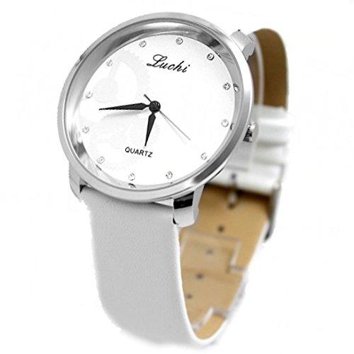 White Band Runde PNP glaenzende silberne Uhrgehaeuse Frauen Alle Weiss Mode Uhr