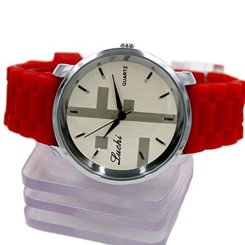 New White Dial PNP glaenzende silberne Uhrgehaeuse Silikon Red Band Mode Uhr