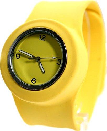 Yellow Dial PNP glaenzende silberne Uhrgehaeuse Silikon Gelb Band Mode Uhr