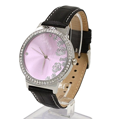 Rosa Zifferblatt schwarz Band Frauen 100 geprueft 3ATM Kristall Leder Mode Uhr
