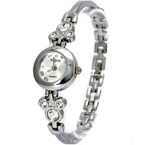 Zifferblatt Neue glaenzende silberne Band runden Matt Silber Dame Frauen Armband Uhr