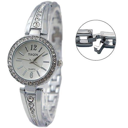 Zifferblatt Neue Runde PNP glaenzende silberne Uhrgehaeuse Silber weibliche Armband Uhr