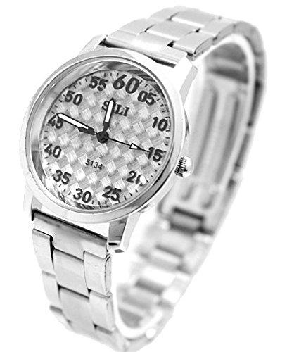 Zifferblatt Neue Grau glaenzendes Silber Band PNP glaenzende silberne Uhrgehaeuse Mode Uhr