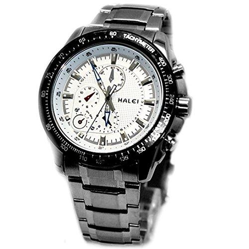 Weisses Zifferblatt glaenzendes Silber Band runde PNP glaenzende silberne Uhrgehaeuse Mann Uhr