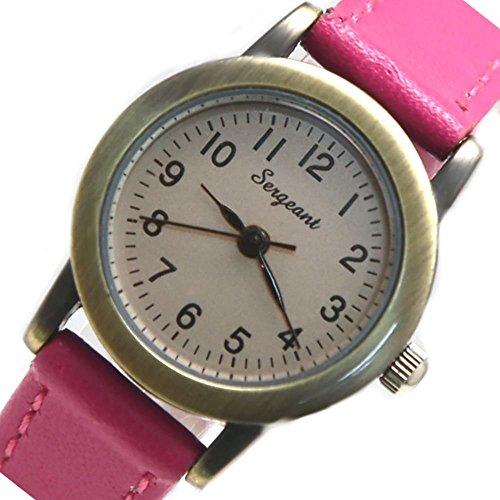 Zifferblatt Neue Gold Ton Magenta Band runde Damen Mode Uhr