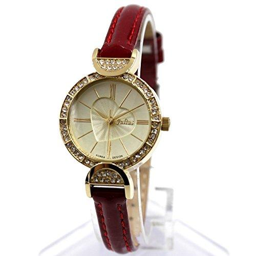 Zifferblatt Neue Gold Ton Red Band runde Dame Frauen Mode Uhr