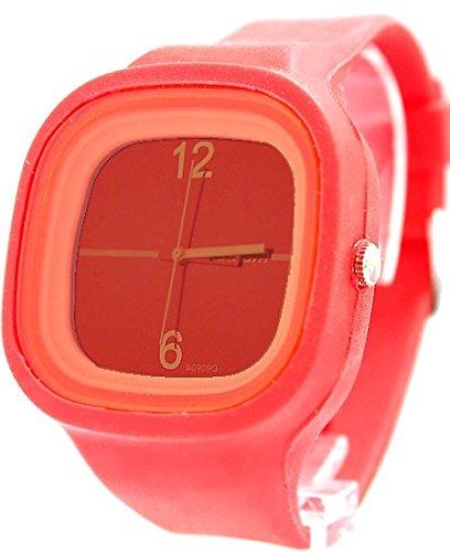 Zifferblatt Neue Rot Weiss Uhrgehaeuse Silikon Red Band Dame Frauen Mode Uhr