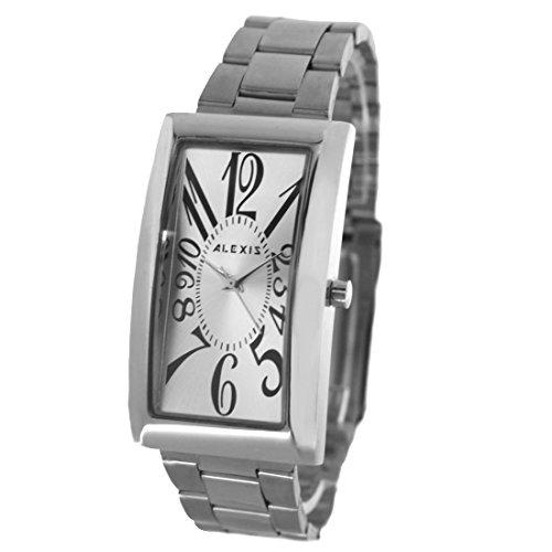 Zifferblatt Neue Silber Rechteck PNP glaenzende silberne Uhrgehaeuse Herren Mode Uhr
