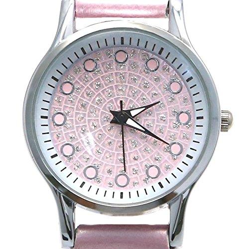 Rosa Zifferblatt Rosa Band runde PNP glaenzende silberne Uhrgehaeuse Female Mode Uhr