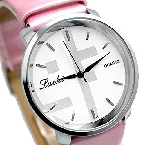 Weisses Zifferblatt Rosa Band runde PNP glaenzende silberne Uhrgehaeuse Frauen Mode Uhr