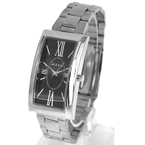 Zifferblatt schwarz glaenzende silberne Band PNP glaenzende silberne Uhrgehaeuse Mann Mode Uhr