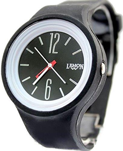 Zifferblatt schwarz Weiss Uhrgehaeuse Silikon Schwarz Band Dame Frauen Mode Uhr