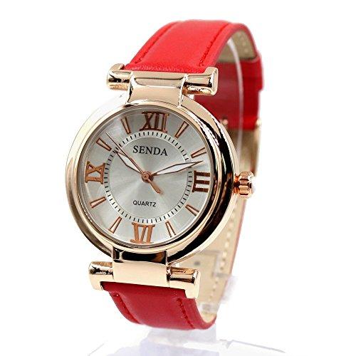 Zifferblatt Neue silberne runde Rose Gold Ton Uhrgehaeuse Dame Frauen Mode Uhr