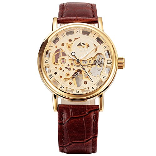 alpen Herren Luxus Hand Winde Skelett Automatik Leder Band Gold Armbanduhr