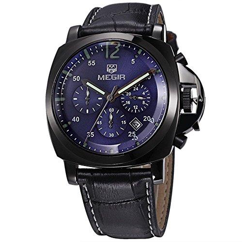 ALPS Herren Luxus Sport Chronograph Multi Funktion Edelstahl blau Fall wasserdicht echtes schwarz Leder Uhren