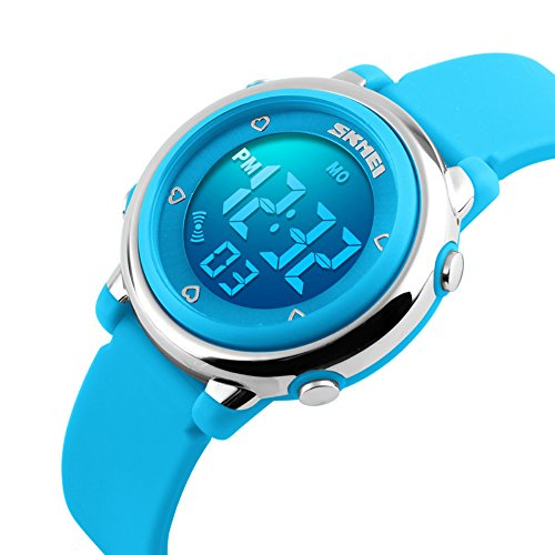 ALPS digitale Kinderuhr LED wasserdicht Uhren blau